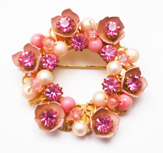 Pink Rhinestone Wreath Brooch - white pearl -enamel - Floral -gold wire wrap pin