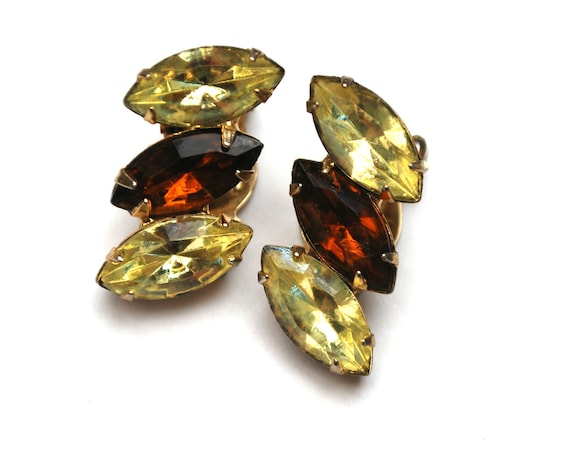 Brown yellow Rhinestone Earrings  - Gold metal - light yellow - Topaz brown - Crystal - clip on earrings