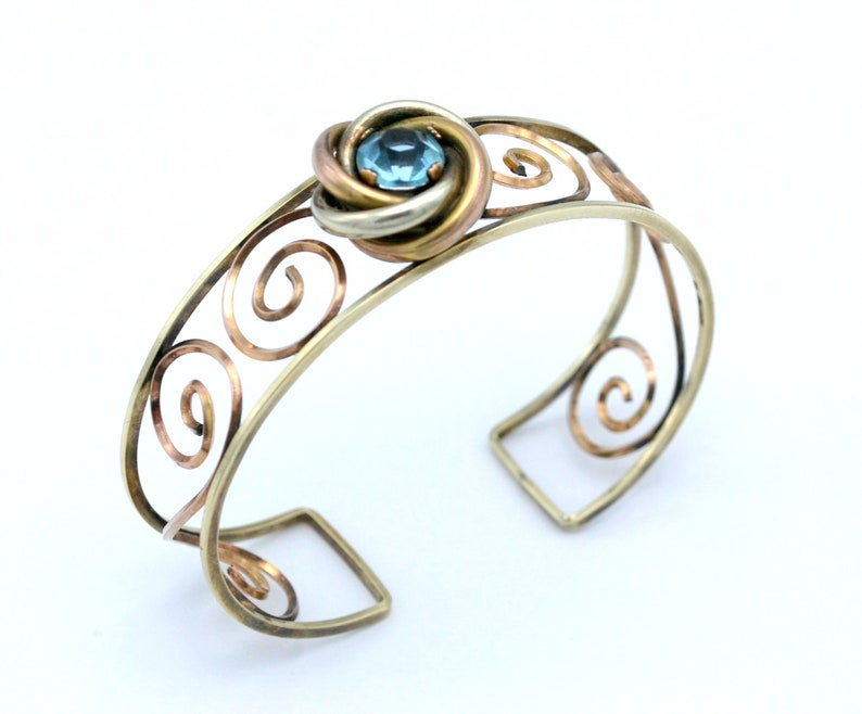 12 kt G.F.  blue crystal cuff Bracelet  signed Harper  two image 0