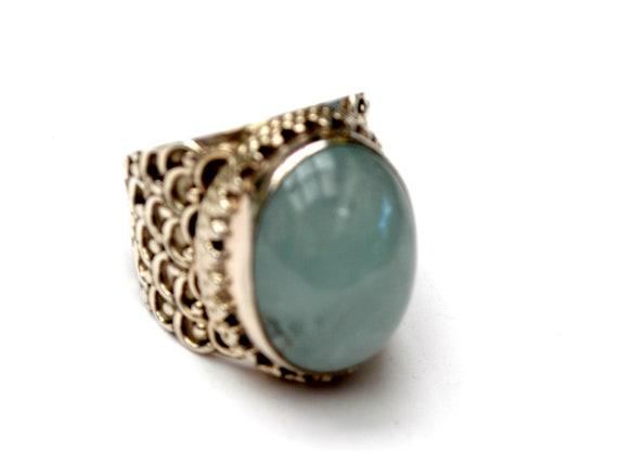 Sterling Aquamarine Ring - Size 6 1/2 Cloudy Blue Gemstone - Statement Ring