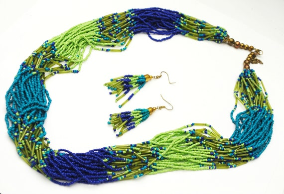 Torsade necklace earrings set - Multi strand - Blue Green Bead -  Glass brass  beads