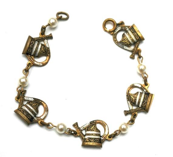 Damascene water can  Link Bracelet - Golden brass  Black white enamel -  white pearls - signed Spain - Garden - tea pot- bangle