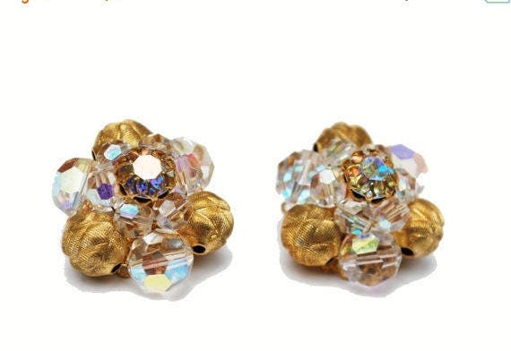 Crystal and Gold bead Cluster earrings -  signed Pat Pend - Aurora Borealis -  glass clip on earrings