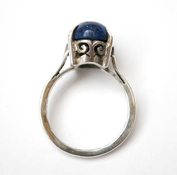 Blue Lapis Ring Sterling silver size 9   Gemstone silver filigree   vintage tribal Boho  ring