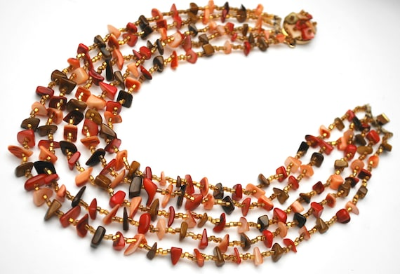 Multi strand Shell bead  necklace red brown shell  coral  gold beads signed Japan bead cluster clasp necklace