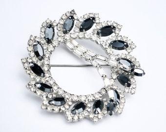 Rhinestone round  Brooch  silver setting Hemetite grey and  Clear Crystal  Wreath Pin  Bride Wedding Gift for her