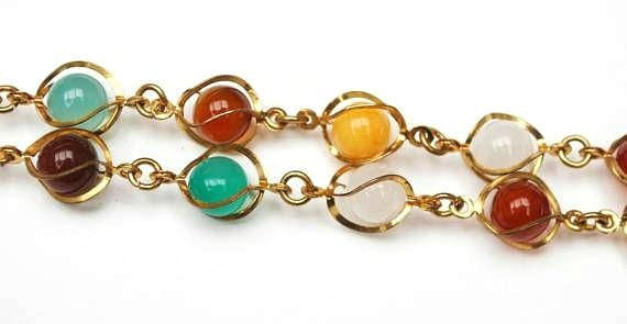 Bead Necklace  Caged polished round  gemstone  gold tone metal   quartz jasper carnelian and Agate beads