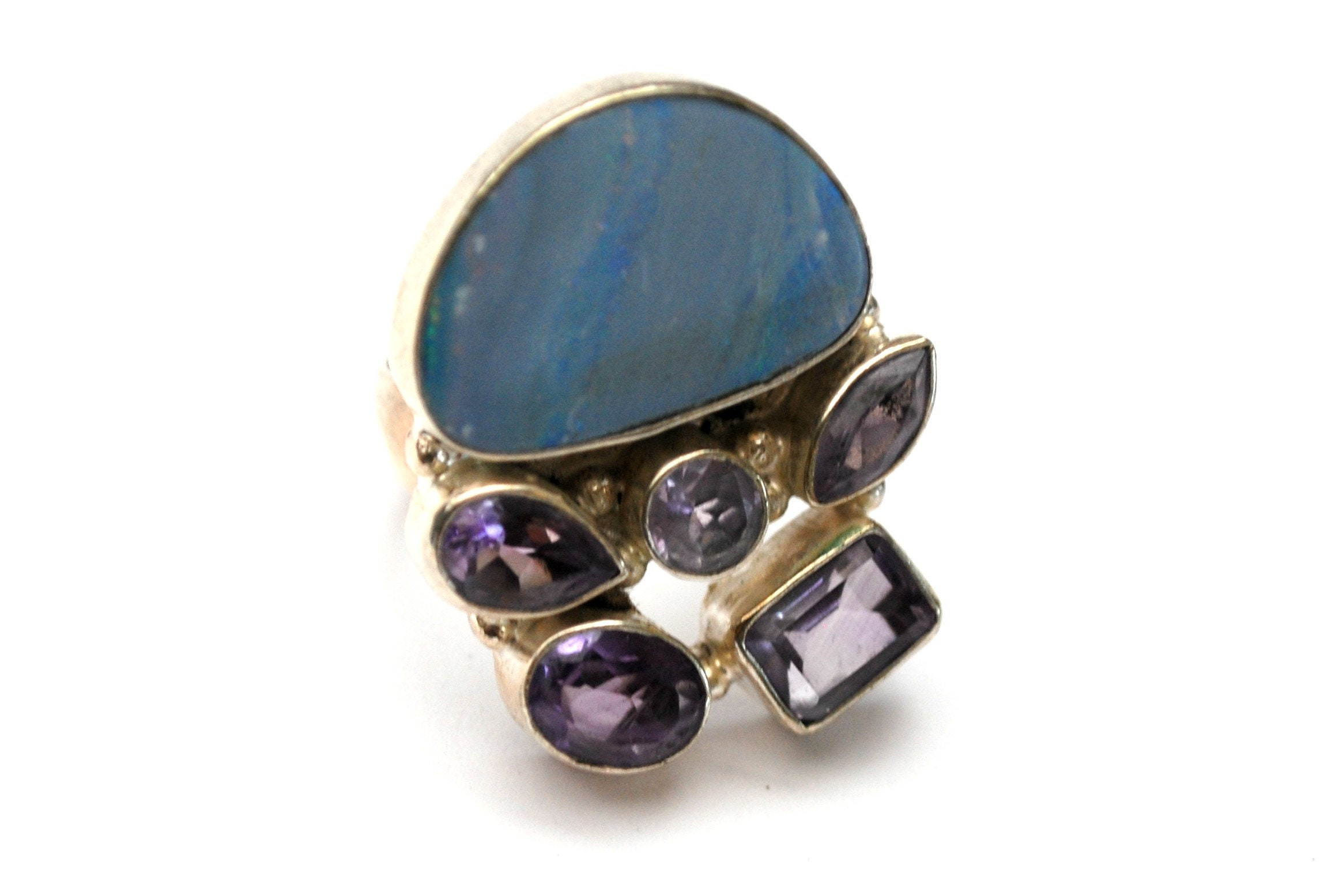 Size 6 Vintage Wide Band Opal Inlay Statement Ring Sterling Silver Amethyst Ring