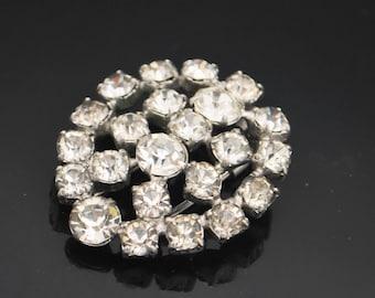 Kramer of New York Rhinestone fur Clip   clear crystal Silver metal  floral dress clip