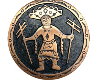 Copper  brooch South Western Native American Indian dancer black oxidization