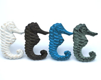 Cast Iron  Sea Horse  Drawer Pull Cabinet Knob Handle Beach Decor iron rust brown  Distressed blue white and distressed green