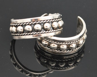 sterling silver  hoop earrings pierced studded south western signed  Mexico