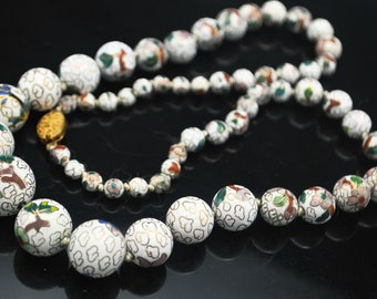 Cloisonne flower Bead Necklace  graduated  White  Green red  flower  gold Enameling  Vintage  Hand knotted  Chinese beads  26 1/2 inches