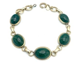 Connemara Marble Gold filled bracelet Signed Amco 12 kt GF link bracelet