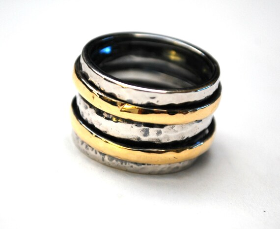 silver gold    Spinner ring  - size  10 - gold plated band   - Hammered Silver band ring - Gift for her - Boho