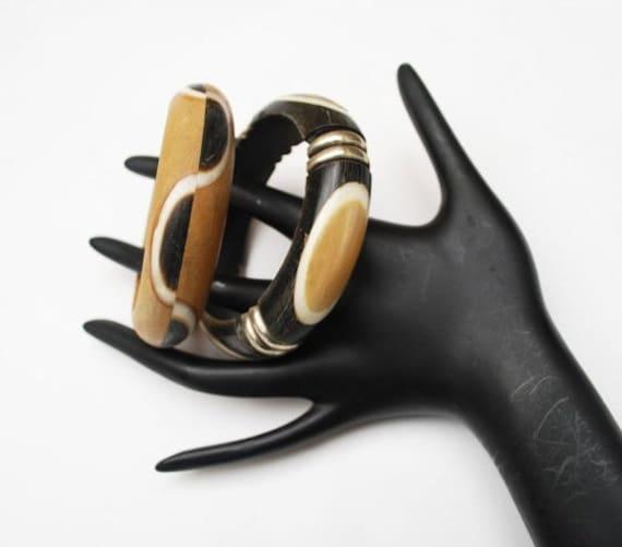 Boho Bracelets - Dark and light Brown wood  - white  Bone inlay - Lot of Two Bangles