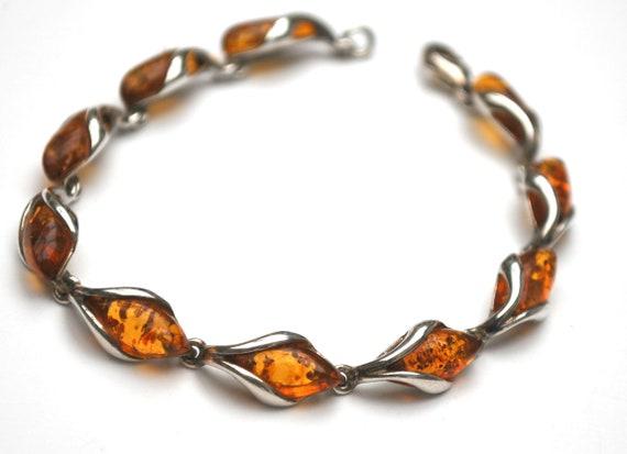 Amber  Sterling link bracelet - genine  orange gemstone - silver links - tennis bracelet.
