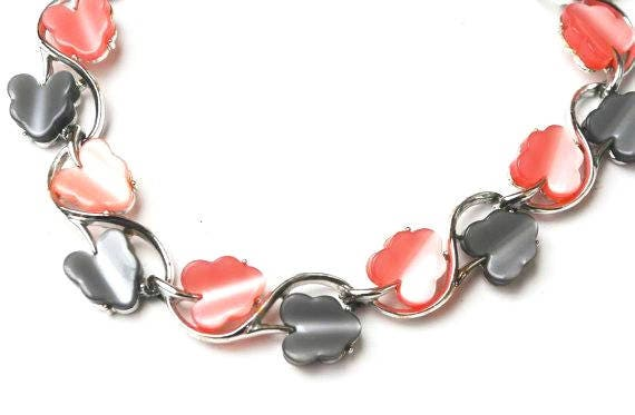 Thermoset  leaf Link necklace - Pink and Grey plastic leaves  - silver tone - Mid Century