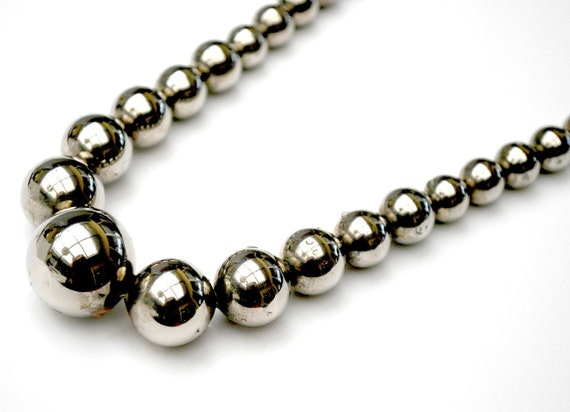 Large Graduated Sterling Ball Bead Necklace on silver chain 29 1/2  inches -  63 grams - southwestern