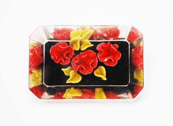 Reverse Carved Lucite Brooch - Red Rose Orchid Flower - yellow green leaves pin with black - Floral leaves pin