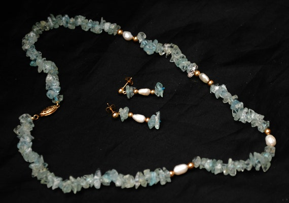 Aquamarine Fresh water Pearl and 14kt gold bead light blue gemstone  bead necklace and earring set