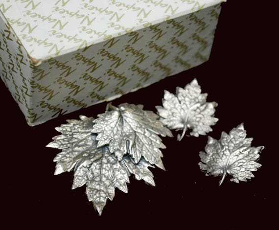 Leaf brooch and earring set - Napier Signed - Silver - clip on earrings - Mid Century
