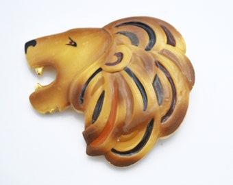 Large lion head brooch  pendant brown gold black enamel  gold plated metal