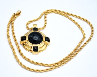 Monet Necklace gold black  pendant necklace twisted gold chain