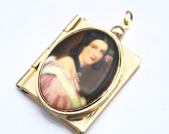Book Locket pendant   gold book painted Porcelian Cameo vintage pendant findings