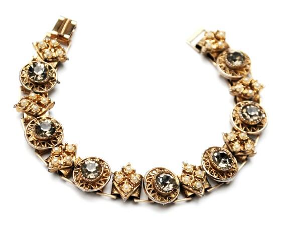 Pearl Rhinestone book chain Link bracelet  topaz crystal white seed pearls Victorian Revival
