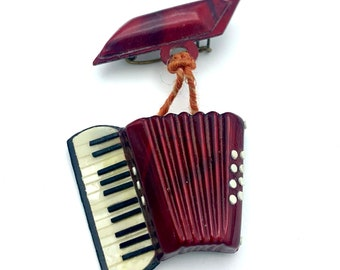 Accordion brooch red black white plastic dangle   Music instrument  Figurine pin
