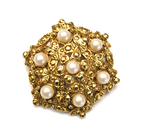 Vintage Scarf Clip - Pearl and Gold Scarf ring