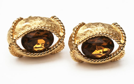 Topaz Glass Gold Cuff links  Facet cut crystal  Amber brown  Cuff links