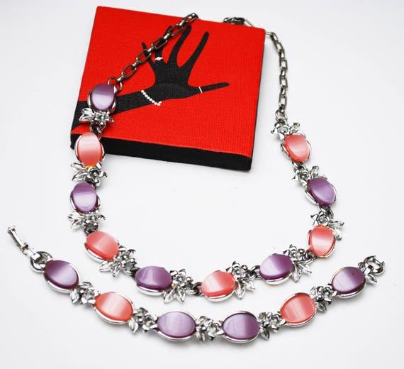 Thermoset necklace and bracelet set Pink  Purple  plastic   silver tone Mid Century