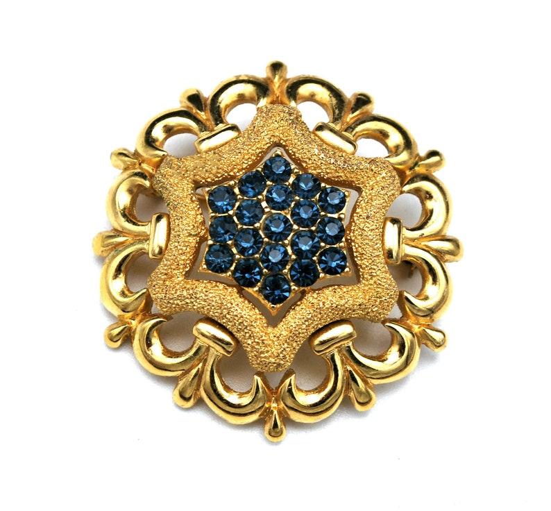 Crown Trifari Brooch  blue  Rhinestone gold flower Mid Century image 0