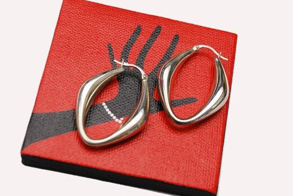 Large  Sterling Hoop Earrings - hallow sliver hoops - Modernistic design - Signed CNA 925 Thailand - pierced earrings