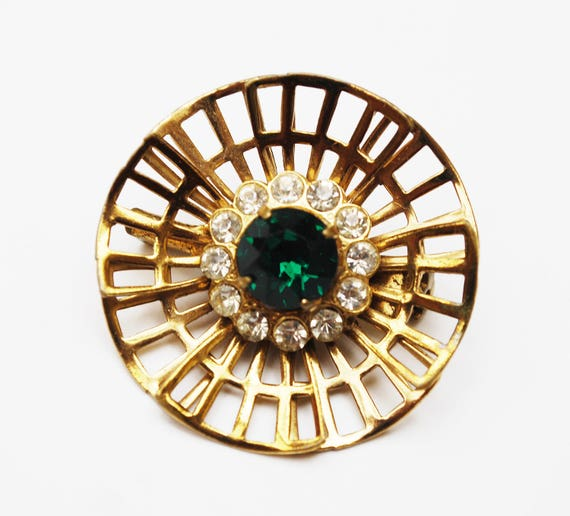 Green Rhinestone Floral Brooch  Gold Filigree Clear crystal  mid century  flower Atomic pin