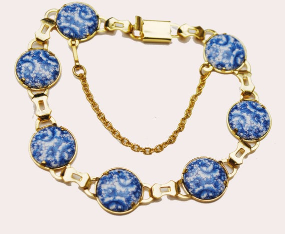 Blue white Flower Link Bracelet  Gold links  blue white Ceramic Floral painted - Tennis bracelet
