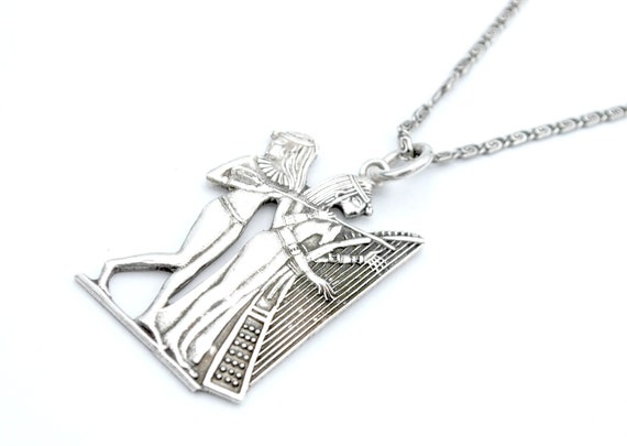 Sterling Egyptian Pharaoh Pendant necklace  music… - image 1