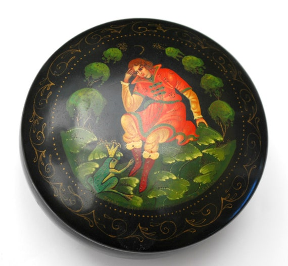 Russian Lacquer Trinket Box -  Fairy Tale Storybook Frog Prince -  Hand Painted wood jewelry pill box 3 1/2 inches