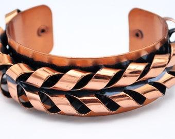Renoir Copper  Cuff Bracelet  braided  Coil Modernistic  Mid century Mod  chunky Bangle