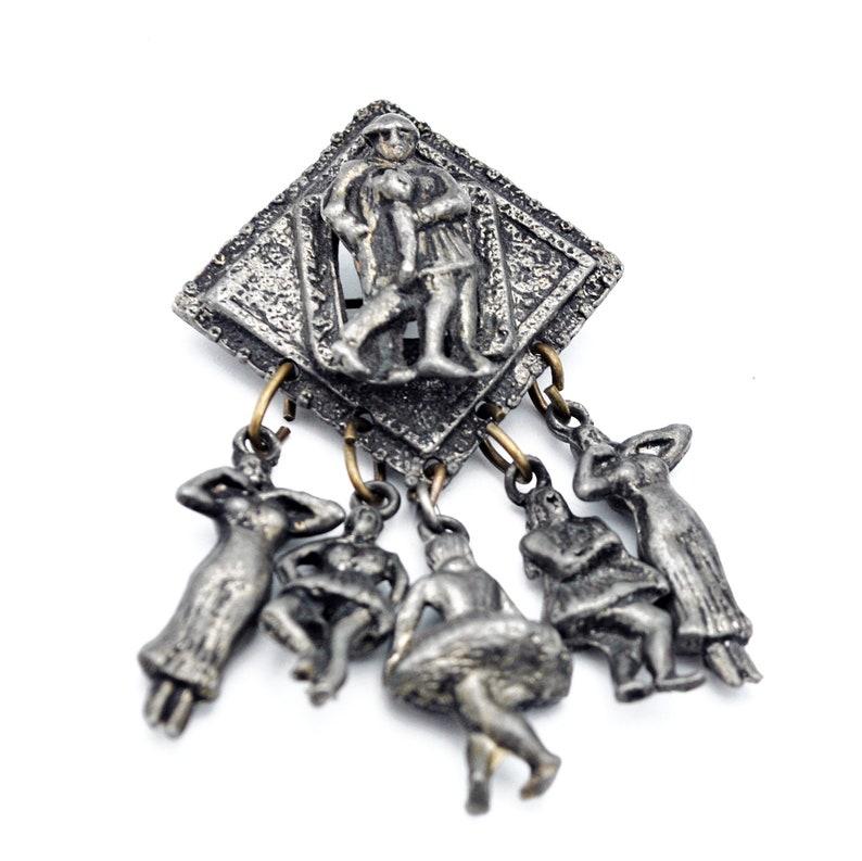 Dangle Dancer  Brooch  Dark grey gun metal mand women dancer dangling dancy ladies  figurine Dancing   pin