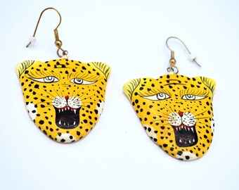 Vintage Lion  earrings painted wood   dangle pierced earrings
