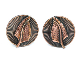 Copper Leaf  Earrings round  Mid Century clip on earrings