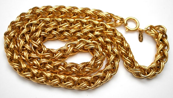 Chunky gold  link chain  Necklace  Signed Napier  Gold Plate Links 23 inches