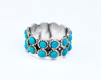 Turquoise sterling band ring southwestern size 7 3/4 signed LVM Mexico