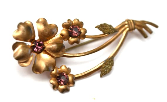 Flower Brooch - Art Deco  - Purple Rhinestone - Rose Gold filled -  Floral pin