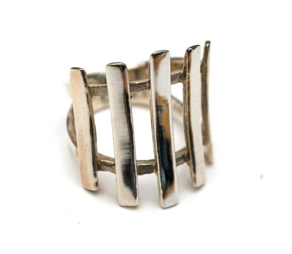 Sterling ring - open work slate  Silver - Modern - size 7 - Modernistic modern - chunky boho ring