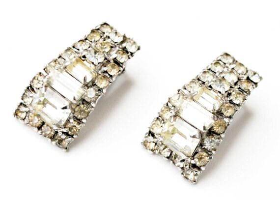 Rhinestone clip on earrings Clear crystal Emerald cut Wedding Bride Prom