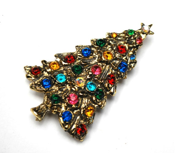Christmas Tree Brooch -  red green pink blue  and clear  Rhinestone Holiday Pin